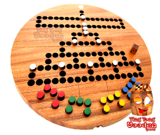 Barricade Malefiz as round game board version from Monkeypod wood Thailand Chiang Mai