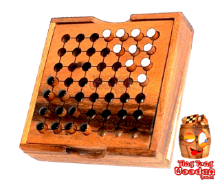 halma for 2 players as a small travel version in wooden box from monkey pod Thailand