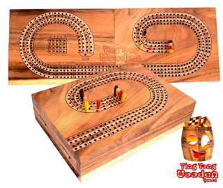 Cribbage wooden board for 4 players or 4 teams with 8 players as a wooden board Variant for folding with playing cards Thailand wooden games