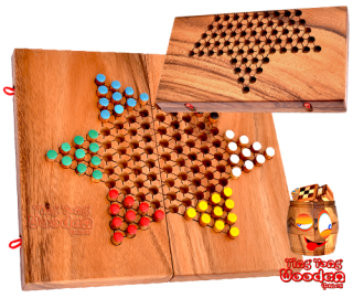 chinese checkers, halma or star halma board wooden monkey pod thailand