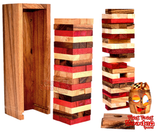 jenga tower colour the wobbly tower in colour with dice exciting wooden game Thailand