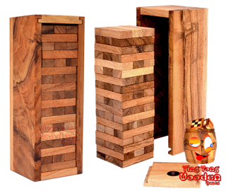 jenga tower of the wobble tower medium jenga variant from monkey pod wood games Thailand