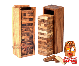 jenga tower mini the wobbly tower xs as the smallest jenga variant from monkey pod wood game Thailand