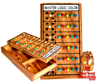 Mastermind, Super Brain, who cracks the super color code of the opponent in 6 steps wooden game Monkey Pod Thailand