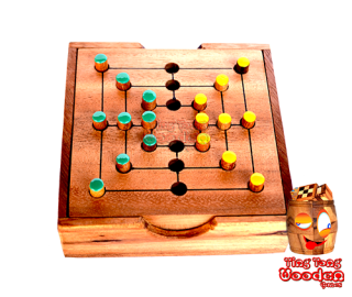 nine mans morris or the strategy game for 2 persons as a small wooden box monkey pod Thailand