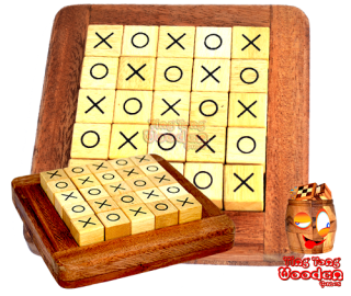 Quixo, Cross Road or Tic Tac Toe Wooden strategy game for 2 people Monkey Pod Thailand
