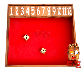 shut the box jumbo jackpot 12 as a wooden clapper board with dice for the whole family monkey pod wood Thailand