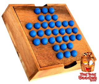 solitaire ball steckhalma wooden box monkey pod wooden game Thailand