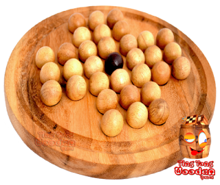 solitaire round wood board with wooden balls monkey pod games Thailand