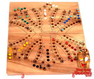 Tic Tac the tournament enabled wooden Brändi Dog board game in the 6 player variant for 3 teams thai wooden games Teams thai wooden game