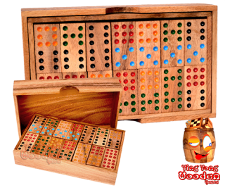 Domino 9 large box with 56 wooden dominoes monkey pod wooden games Thailand