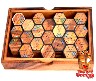 hexadomino hexamino hexagon domino wooden game for the whole family wooden games Thailand