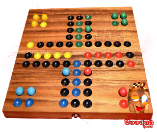 ludo dice game board with wooden balls monkey pod wooden games Thailand