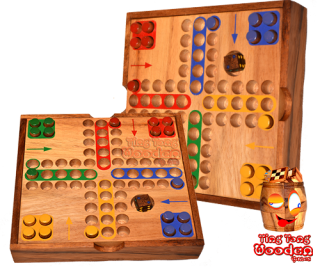 ludo dice game in wooden box with pins for traveling monkey pod game thailand
