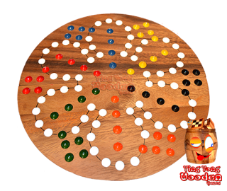 Ludo dice game as round board with balls for 6 players wooden Monkey Pod wooden games Thailand
