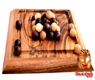 Pylos strategy board also known as pharaoh pyramid with 30 wooden balls from monkey pod wooden games thailand