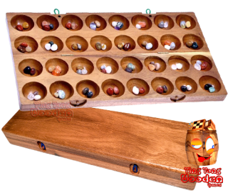 hus large that little stone game bao bao big with 32 troughs and 48 tiles. strategy game from monkey pod wooden games Thailand