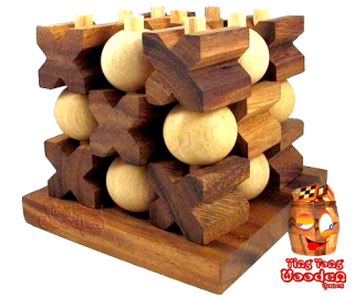 3D Tic Tac Toe large the XO strategy game in 3D as a wooden game monkey pod wooden games thailand