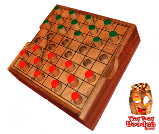 Color checkers the dame strategy game in larger wooden box from monkey pod wood thai wooden games