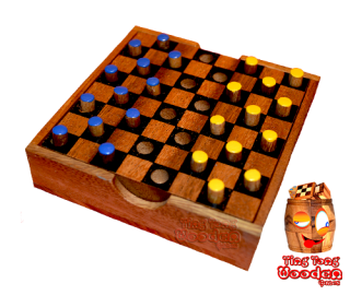Colour checkers the dame strategy game in small wooden box monkey pod thai wooden games