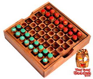 Chess wooden box with plugs and printed characters as a travel chess monkey pod wooden games Thailand