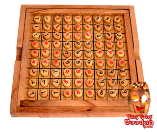 Sudoku 9x9 wooden board with plugs red and black wood sudoku monkey pod wooden games Thailand