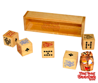 Dice poker 5 dice in wooden box to play for dice poker thai wooden games