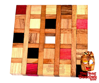 Parquet wooden puzzle nice medium difficult wooden game brain teaser with only 8 pieces from Chiang Mai Thailand