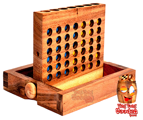 connect four wooden strategy game in start position ready to play for 2 player