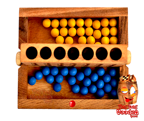 connect four the view from top start position game every player have his colour on his side of the strategy wooden game