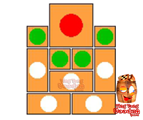 try to solve the khun pan wooden game with the template for 93 steps to solve the wooden puzzle