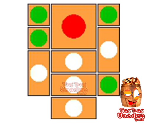 try to solve the khun pan wooden game with the template for 98 steps to solve the wooden puzzle