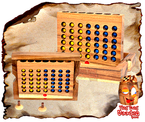 handmade connect four strategy game with wooden chips made in chiang mai ting tong wooden factory