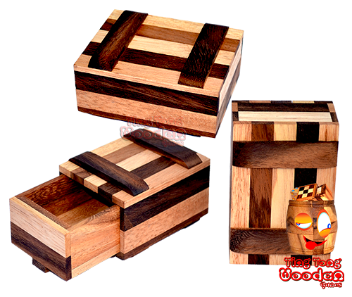 new secret wooden gift box in colour wooden version from chiang mai wooden factory ting tong