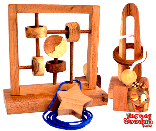 wooden string puzzle from samanea wood made in chiang mai thailand in ting tong wooden games factory