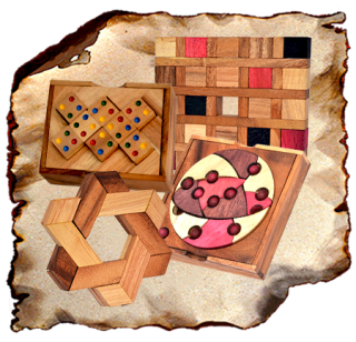 2D Wooden Puzzle in Samanea wooden box to puzzle and puzzle, placement game, puzzle game, puzzle tangram or cake puzzle made of wood