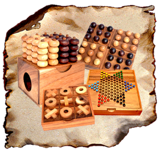 Wooden strategy game in Samanea wooden box or board game like Four Wins, Ajongoo, Hus, Pebble, Chess, Kalaha