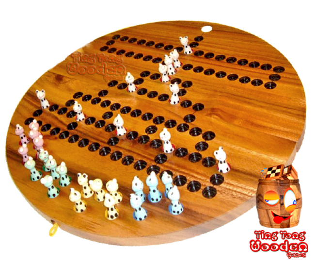 Barricade Frog The Malefice Dice Game as a wooden board game with ceramic frogs and wooden dice