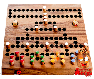 Barikade with larger pins Malfiz Wooden dice game as a game board version with dice and wooden figures Thailand