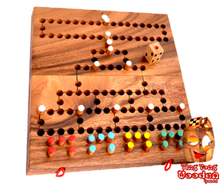 Barricade Malefiz Dice game Family board game as a wooden game board with game pieces and dice