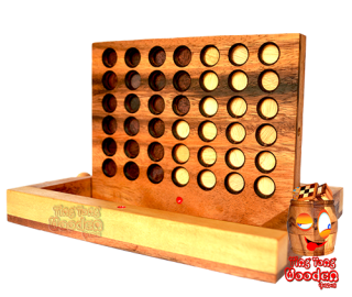 connect four, bingo chips four in a row wooden strategy game monkey pod