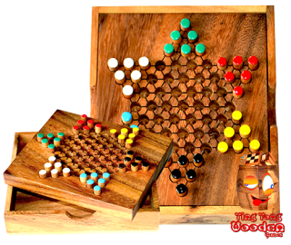 chinese checkers small star halma box, star halma as a travel variant in monkey pod wood Thailand