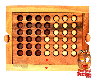 Win the Strategy Game in Samanea Wood with Chips for 2 players also called Bingo or Connect Four