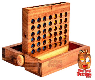 connect four large strategy game in open  wooden variant