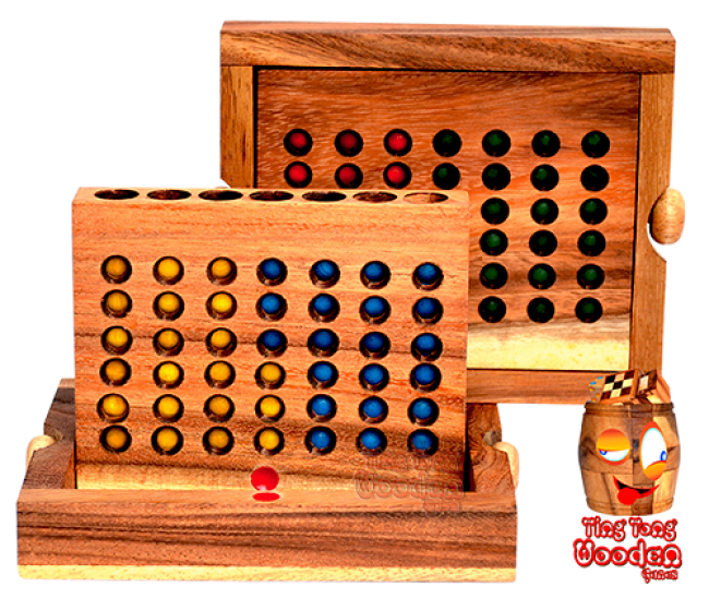 Four Wins the open and closed view in a large wooden box made of Samanea wood