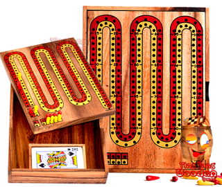 Cribbage game for 2 teams or 2 players made of wood with a card game of 52 cards in a wooden box Monkey pod Thailand wooden game