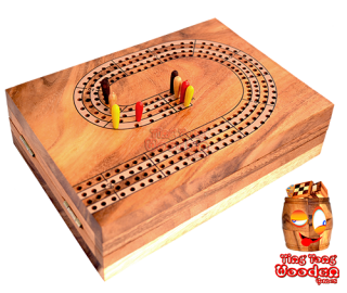 Cribbage wooden box for 4 players or 4 teams with 2 players each Foldable wooden box to the game board with playing cards Thailand wooden games