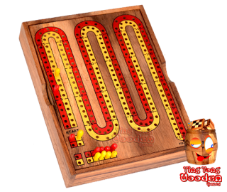 Cribbage wooden box a social game for 2 teams or only 2 players Monkey Pod Thailand wooden game