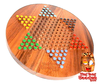 chinese checkers, halma or star halma board round wooden monkey pod thailand