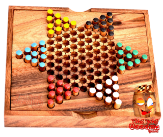 chinese checker, star halma box, halma wooden strategy game as travel version monkey pod Thailand